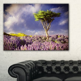 Green Tree in Lavender Field - Modern Landscape Wall Art Canvas