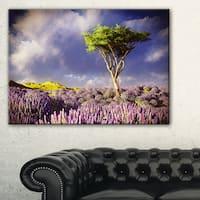Green Tree in Lavender Field - Modern Landscape Wall Art Canvas - Purple