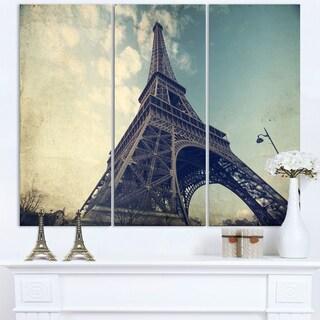 Paris Eiffel Tower Vintage View from Ground - Cityscape Canvas print