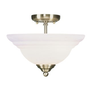 Livex Lighting North Port 2-light Antique Brass Glass/Steel Semi-flush Ceiling-mount Light Fixture
