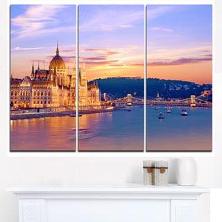 Parliament and Bridge over Danube - Cityscape Canvas print