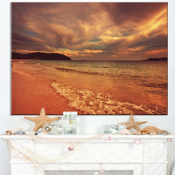 Brown Serene Tropical Beach - Large Seashore Canvas Print