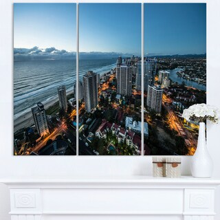 Brisbane Skyscrapers and Sea Aerial View - Cityscape Canvas print
