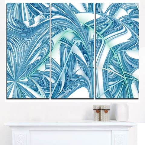 Unique Blue Fractal Design Pattern - Oversized Abstract Canvas Art