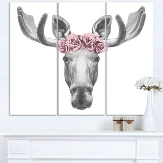 Designart - Moose with Floral Head Wreath - Moose Canvas Art Print