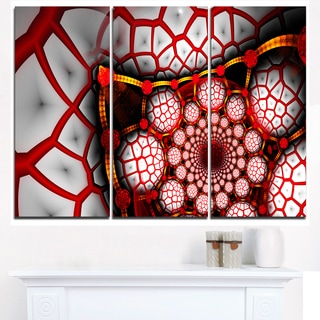 Unique Light Red Fractal Design Pattern - Oversized Abstract Canvas Art