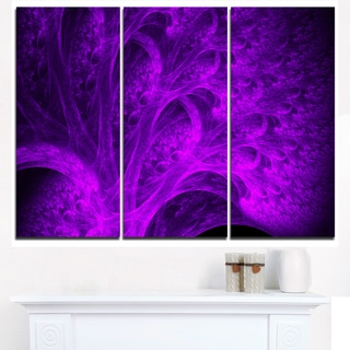 Bright Purple Magical Fractal Forest - Abstract Art on Canvas
