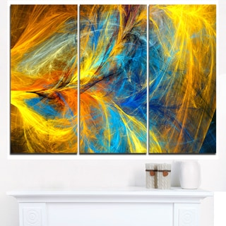 Gold and Blue Psychedelic Pattern - Abstract Art on Canvas