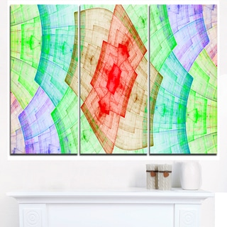 Light Red and Green Flower Grid - Abstract Art on Canvas