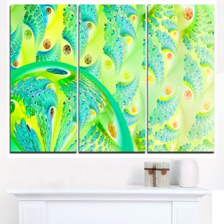 Vibrant Green Fractal Flower Design - Oversized Abstract Canvas Art