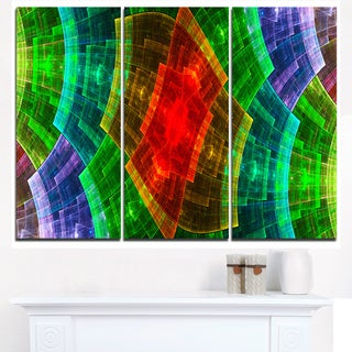 Multi-Color Psychedelic Fractal Metal Grid - Abstract Art on Canvas