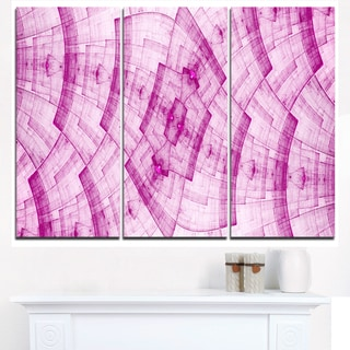 Light Pink Psychedelic Fractal Metal Grid - Abstract Art on Canvas