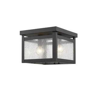 Livex Lighting Milford Bronze Steel/Glass 2-light Ceiling Mount Lamp