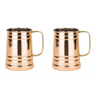Old Dutch Solid Copper Brass-handle Tankards (Set of 2)