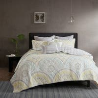 Carson Carrington Oslo Yellow Cotton Printed 7-piece Coverlet Set