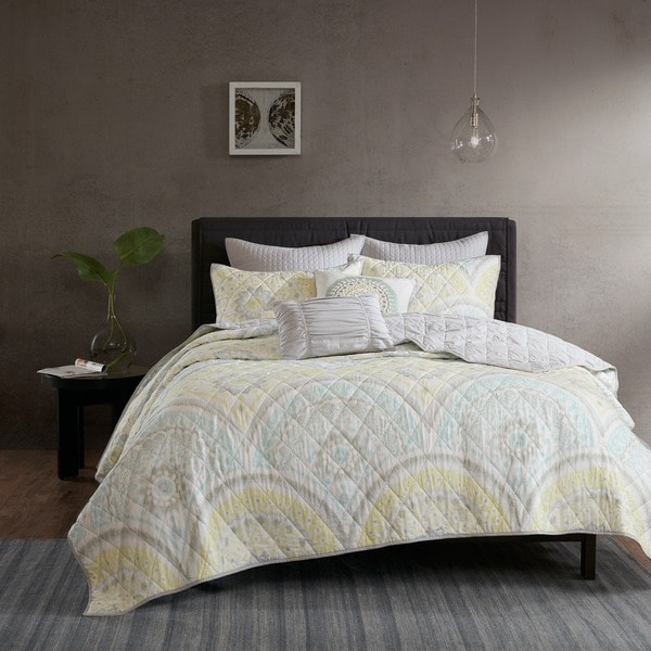 Urban Habitat Nicolette Yellow Cotton Printed 7-piece Coverlet Set