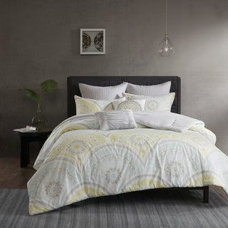 Urban Habitat Nicolette Yellow Cotton Printed 7-piece Comforter Set