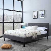 Grey Linen Fabric Nailhead-trimmed Platform Bed with Wooden Slats