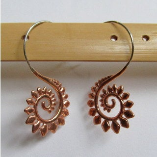 Spirit Tribal Fusion Copper Frond Earrings (Bali)