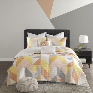 Urban Habitat Parker Orange Printed 7-piece Coverlet Set