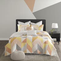Urban Habitat Parker Orange Cotton Printed 7-piece Coverlet Set