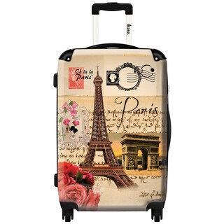 iKase 'Eiffel Tower Stamp' 24-inch Fashion Hardside Spinner Suitcase