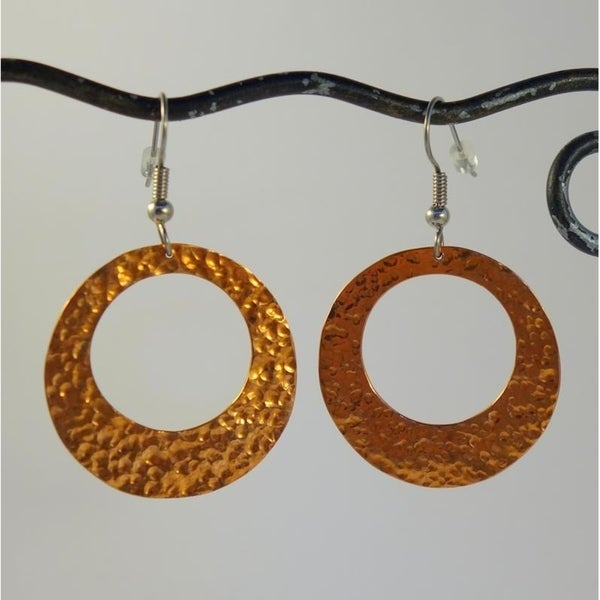 Handmade Hammered Copper Hoop Dangle Earrings by Spirit Tribal Fusion (Indonesia)