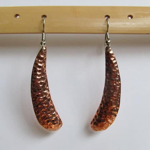 Handmade Copper Elongated Oval Dangle Earrings by Spirit (Indonesia)