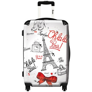 iKase 'Paris Chic' Check-in 24-inch,Hardside Spinner Suitcase