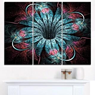 Glittering Dark Fractal Flower Digital Art - Large Floral Canvas Art Print