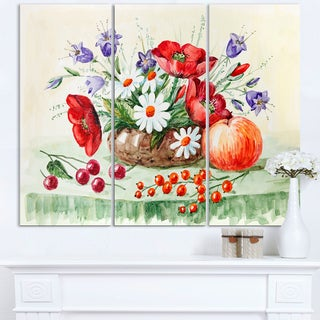 Colorful Bunch of Flowers and Fruits - Floral Canvas Art Print