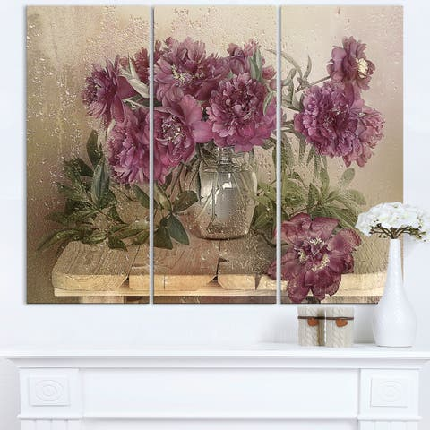 Bouquet of Pink Peonies - Floral Canvas Art Print
