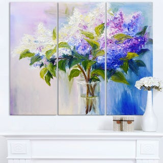 Blue and White Lilacs in Vase - Floral Canvas Art Print