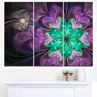 Glittering Purple Green Fractal Flower - Large Floral Canvas Art Print