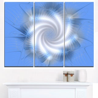 White and Blue Fractal Star Flower - Modern Floral Canvas Wall Art