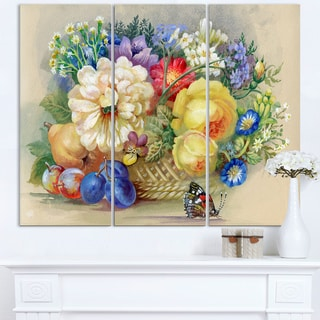 Bunch of Flowers and Fruits - Large Floral Wall Art Canvas