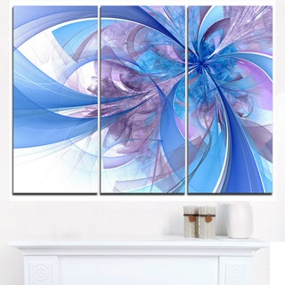 Light Blue and Purple Fractal Flower - Modern Floral Canvas Wall Art