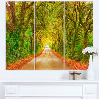 Fall Greenery and Road Straight Ahead - Oversized Forest Canvas Art