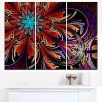 Fractal Flower in Dark Red Digital Art - Large Floral Canvas Art Print