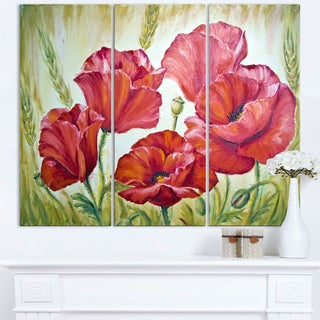 Poppies in Wheat - Large Floral Wall Art Canvas