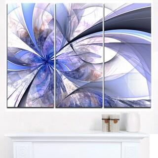 Blue Fractal Flower Design in White - Modern Floral Canvas Wall Art
