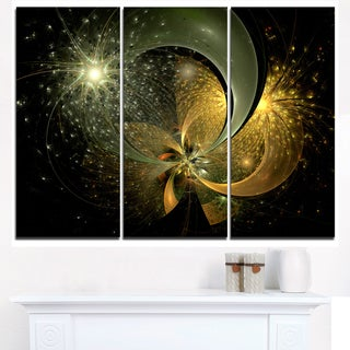 Golden Fractal Flower with Silver Star - Modern Floral Canvas Wall Art