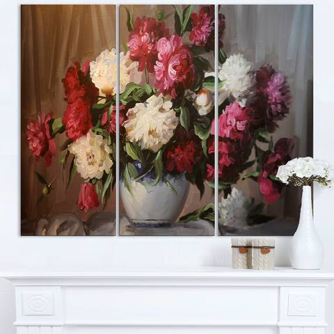Bouquet of Blooming Peonies - Large Floral Wall Art Canvas - Multi-color