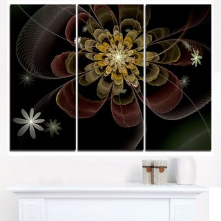 Brown Fractal Flower with Silver stars - Modern Floral Canvas Wall Art