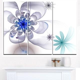 Blue and Grey Symmetrical Fractal Flower - Modern Floral Canvas Wall Art