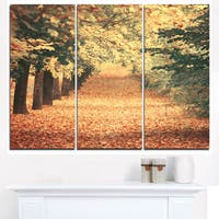 Autumn Forest with Walking Path - Modern Forest Canvas Wall Art - Green