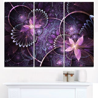 Fractal Flower Soft Purple Digital Art - Large Flower Canvas Wall Art