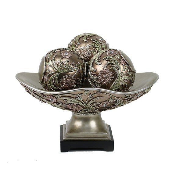 Shop D'Lusso Designs Shandra Collection Decorative Bowl With Three Amazing Decorative Orbs For Bowls