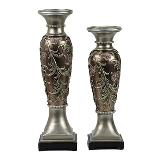 D'Lusso Designs Shandra Design Two-piece Hurricane Candlestick Set