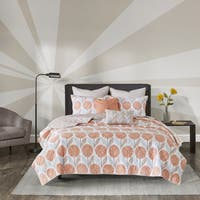 Urban Habitat Stella Coral Cotton Printed 7-piece Coverlet Set